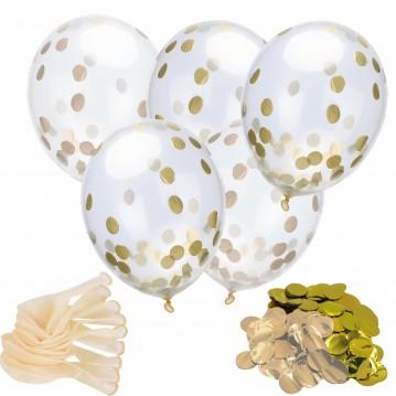 "18 stk Konfetti ballon - Rosen guld og guld 12"" - 30 cm"