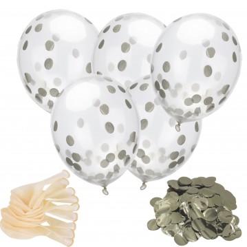 """18 stk Konfetti ballon - Sølv 12"""" - 30 cm"""