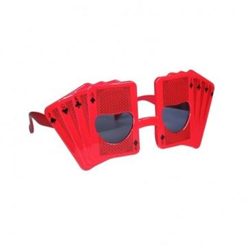 Festbrille med røde spillekort