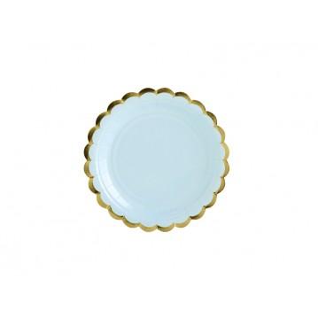 6 stk Engangstallerken lyseblå med guldkant 18 cm