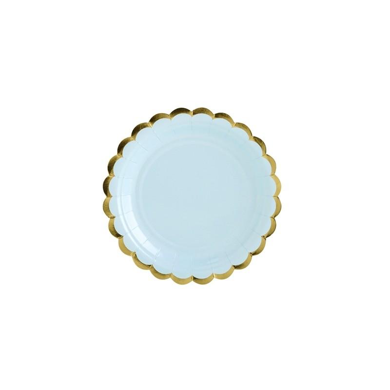 Image of   6 stk Engangstallerken lyseblå med guldkant 18 cm