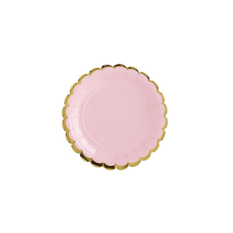 Image of   6 stk Engangstallerken lyserød med guldkant 18 cm