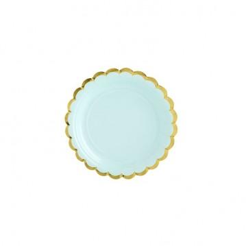6 stk Engangstallerken mintgrøn med guldkant 18 cm