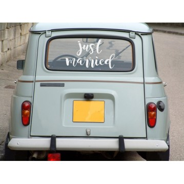 Just married - Stickers til bryllupsbilen