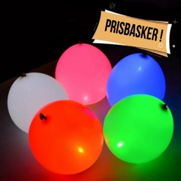 """Balloner med lys. 5 stk. Mix farver. - str.10"""""""