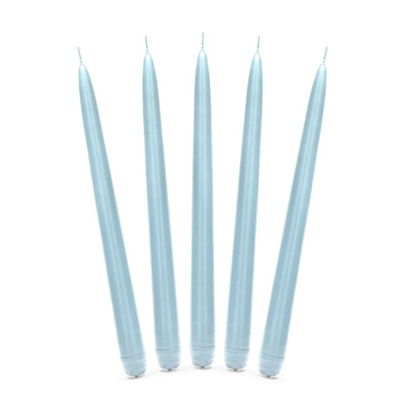 10 stk Himmelblå antiklys 24 cm