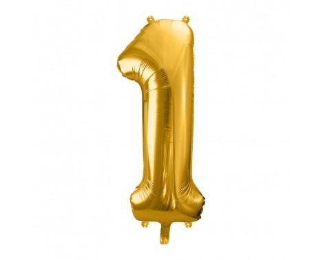 Guld 1 tal ballon - ca 35 cm