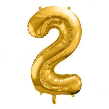Guld 2 tal ballon - ca 35 cm