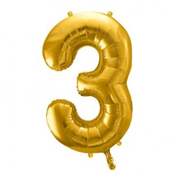 Guld 3 tal ballon - ca 35 cm