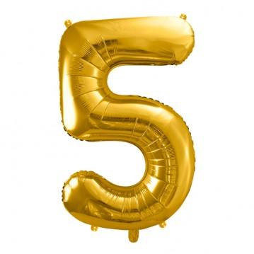 Guld 5 tal ballon - ca 35 cm