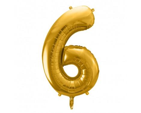 Guld 6 tal ballon - ca 35 cm