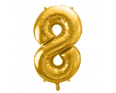 Guld 8 tal ballon - ca 35 cm