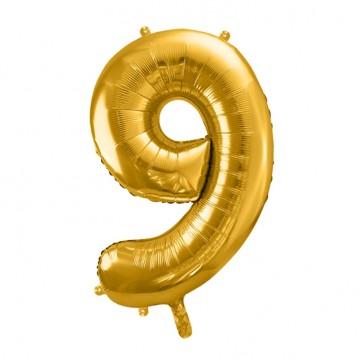Guld 9 tal ballon - ca 35 cm