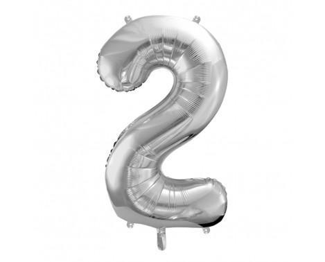 Sølv 2 tal ballon - ca 35 cm