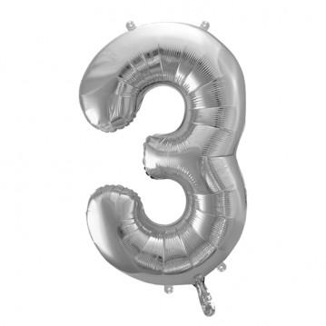 Sølv 3 tal ballon - ca 35 cm