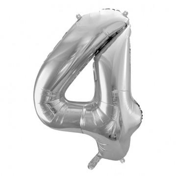 Sølv 4 tal ballon - ca 35 cm