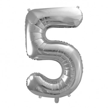 Sølv 5 tal ballon - ca 35 cm