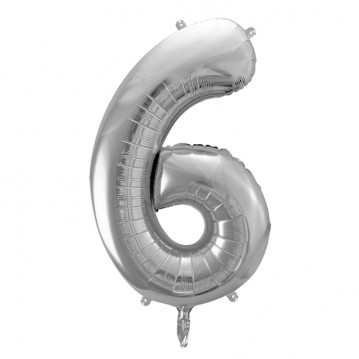 Sølv 6 tal ballon - ca 35 cm