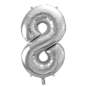 Sølv 8 tal ballon - ca 35 cm