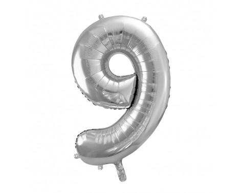 Sølv 9 tal ballon - ca 35 cm