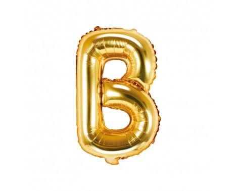 Guld B bogstav ballon -  ca 35 cm