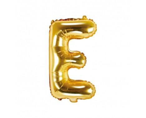 Guld E bogstav ballon -  ca 35 cm