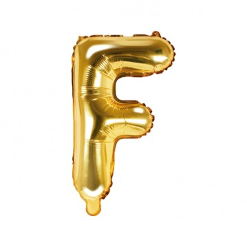 Guld F bogstav ballon - ca 35 cm