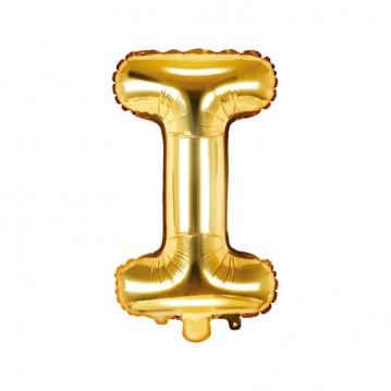 Guld I bogstav ballon - ca 35 cm