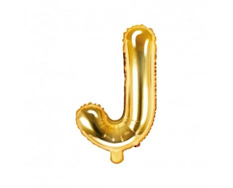 Guld J bogstav ballon - ca 35 cm