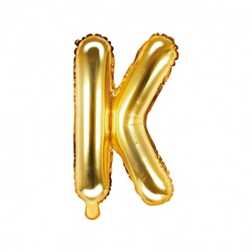 Guld K bogstav ballon - ca 35 cm
