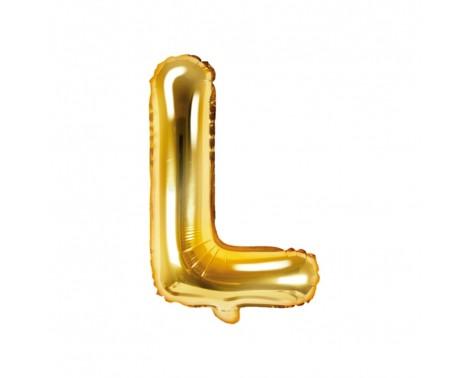Guld L bogstav ballon -  ca 35 cm