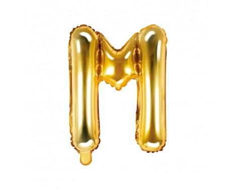 Guld M bogstav ballon -  ca 35 cm