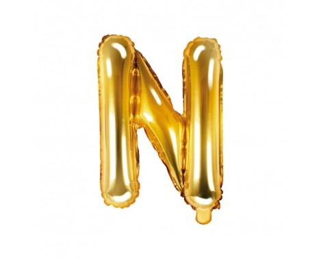 Guld N bogstav ballon -  ca 35 cm