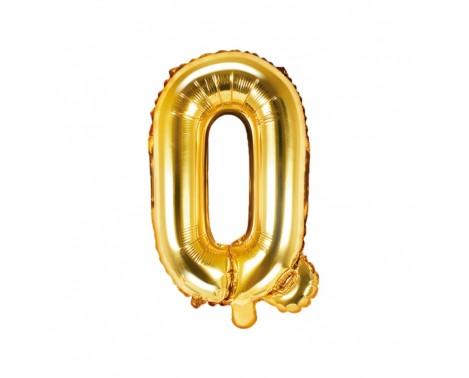 Guld Q bogstav ballon -  ca 35 cm