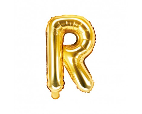 Guld R bogstav ballon -  ca 35 cm