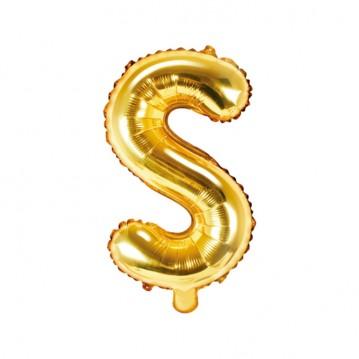 Guld S bogstav ballon - ca 35 cm