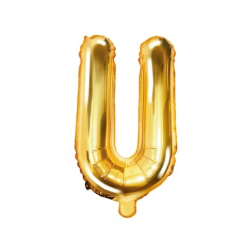 Guld U bogstav ballon - ca 35 cm