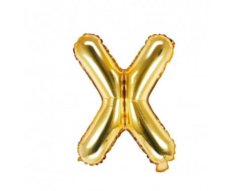 Guld X bogstav ballon -  ca 35 cm