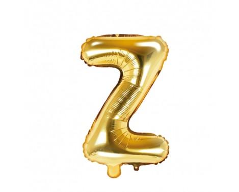 Guld Z bogstav ballon -  ca 35 cm