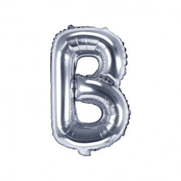 Sølv B bogstav ballon - ca 35 cm