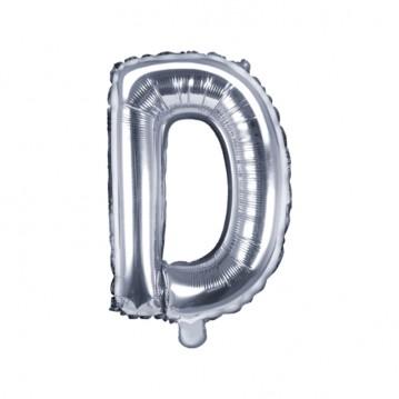Sølv D bogstav ballon -  ca 35 cm
