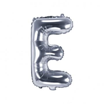 Sølv E bogstav ballon -  ca 35 cm