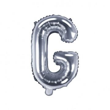 Sølv G bogstav ballon - ca 35 cm