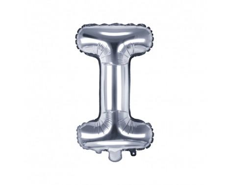 Sølv I bogstav ballon - ca 35 cm