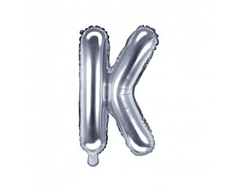 Sølv K bogstav ballon -  ca 35 cm