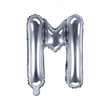Sølv M bogstav ballon - ca 35 cm