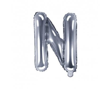Sølv N bogstav ballon - ca 35 cm