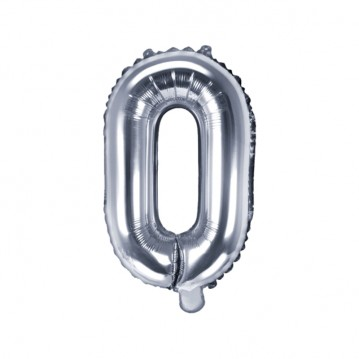 Sølv O bogstav ballon - ca 35 cm