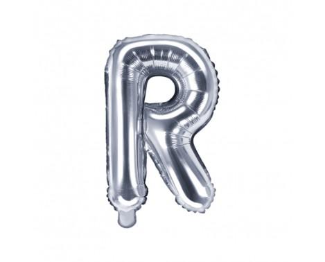 Sølv R bogstav ballon - ca 35 cm