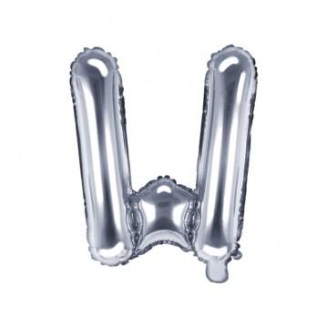 Sølv W bogstav ballon - ca 35 cm